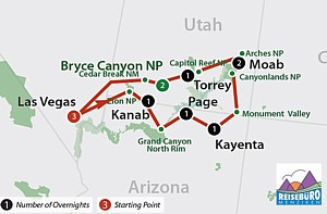Höhepunkte Las Vegas und die Nationalparks Zion, Bryce Canyon, Monument Valley, Canyonlands, Arches, Capitol Reef und Bryce Canyon.