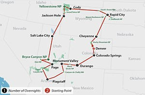 Die ulimative Reise durch die folgenden Nationalparks: Rocky Mountain, Badlands, Yellowstone, Grand Teton, Bryce Canyon, Zion, Grand Canyon, Canyon de Chelly, Monument Valley, Mesa Verde plus Mount Rushmore und Devils Tower.
